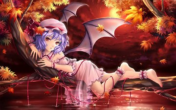 art, leaves, girl, dress, wings, anime, feet, red eyes, lying, purple hair, touhou, remilia scarlet