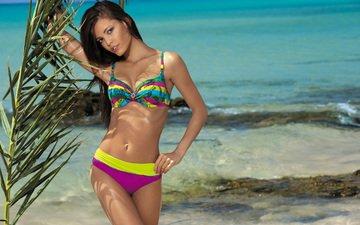 девушка, брюнетка, модель.пляж, jakub fabirkiewicz