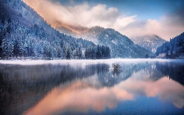 lake, mountains, nature, forest, winter