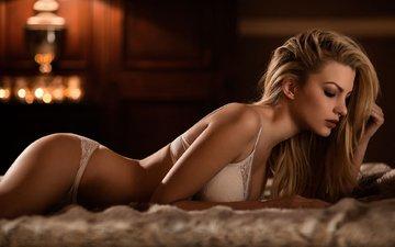 девушка, блондинка, модель, фотосессия, длинные волосы, белое бельё