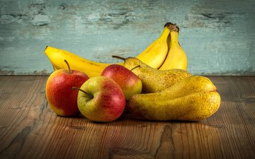 fruit, apples, bananas, pear