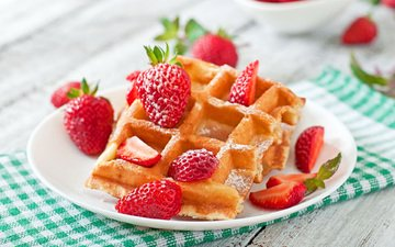 strawberry, berries, cakes, dessert, waffles