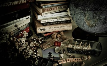 flowers, vintage, books, globe, boat, still life, lauren rautenbach