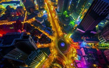 night, lights, the city, china, road, bing, dalian, friendship square