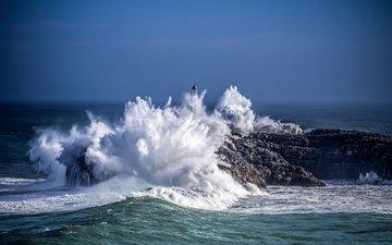 небо, природа, волны, море, маяк, океан, cherce
