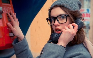 girl, mood, portrait, the city, look, glasses, model, the wind, phone, coat