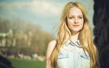 girl, mood, portrait, the city, look, model, hair, face, the wind, shirt