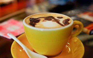 рисунок, кошка, кофе, чашка, пенка, латте