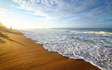небо, природа, берег, волны, пляж, шри-ланка
