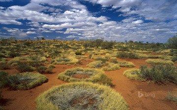 небо, трава, облака, пустыня, австралия, кольца