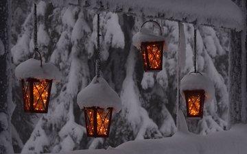 свет, деревья, фонари, огни, снег, зима, гирлянда, hannu koskela