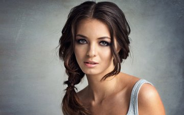 девушка, портрет, взгляд, волосы, губы, лицо, коса, ксюша, libriana