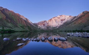 the sky, lake, mountains, sunrise, stones, reflection, david colombo, convict lake