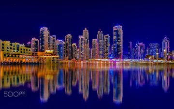 reflection, the city, skyscrapers, night city, architecture, building, dubai, uae, david gomes