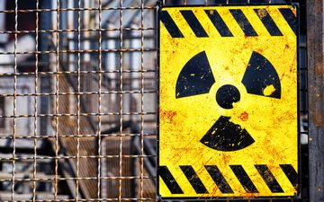 the fence, mesh, sign, radiation, radioactive, nuclear reactor