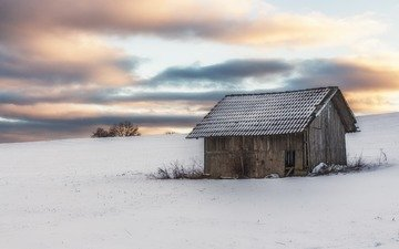 the sky, clouds, snow, winter, field, horizon, house