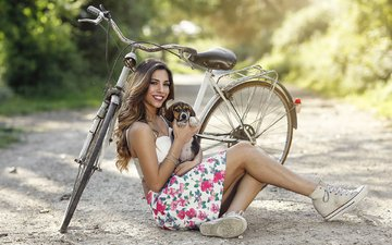 girl, smile, dog, sneakers, model, puppy, sitting, legs, bike, long hair, alessandro di cicco