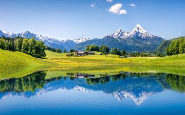 the sky, clouds, trees, lake, mountains, reflection, alps