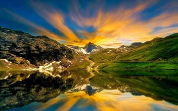 the sky, clouds, water, lake, mountains, sunrise, sunset, reflection