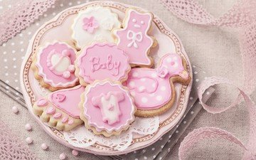 украшения, сладкое, тарелка, печенье, десерт, глазурь