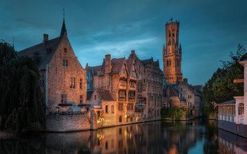 the sky, night, lights, channel, building, lighting, belgium, bruges