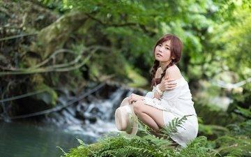 природа, девушка, взгляд, лицо, шляпа, азиатка, косички