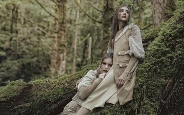 trees, forest, style, girls, moss, makeup, model