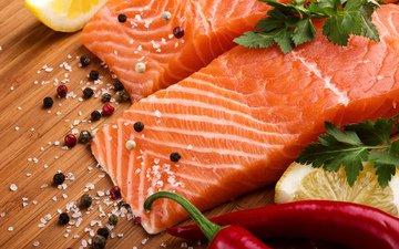 лимон, рыба, перец, морепродукты, петрушка, специи, соль, красная рыба