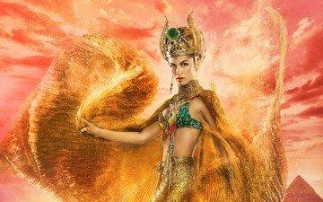 девушка, взгляд, лицо, богиня, фильмов, gods of egypt, элоди юнг, aктриса, hathor