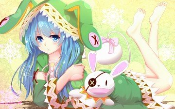 girl, anime, blue hair, yoshino, date a live, yoshinon