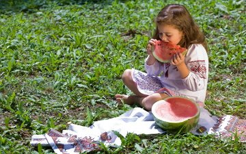 растения, настроение, дети, арбуз, волосы, лицо, ребенок, gевочка