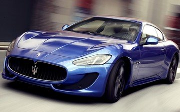 road, blue, movement, car, maserati