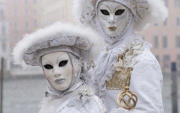 белый, пара, костюмы, маски, карнавал