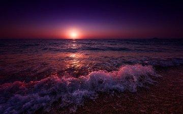 берег, волны, закат, море, пляж, прибой, греция