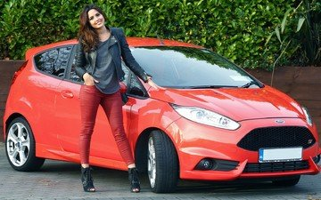 girl, smile, model, car, ford, leather jacket, high heels