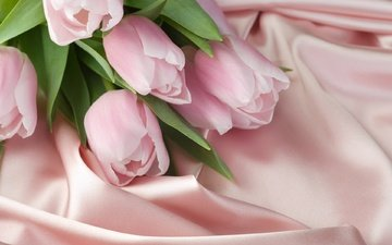 buds, petals, spring, fabric, bouquet, tulips, silk, flowers