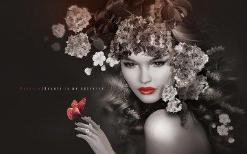 цветы, арт, девушка, графика, губы, макияж, венок