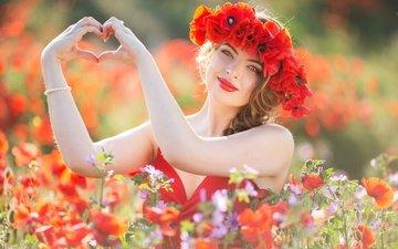flowers, girl, mood, look, maki, meadow, heart, face, hands, wreath