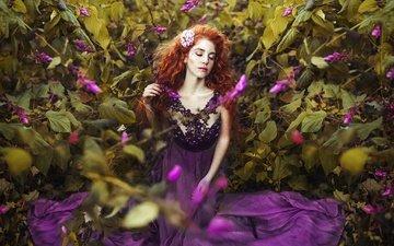 цветы, девушка, настроение, платье, кусты, веснушки, рыжеволосая, закрытые глаза, ronny garcia