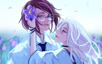 flowers, girl, guy, glasses, anime, romance, pair, blue eyes, white hair, m0queur