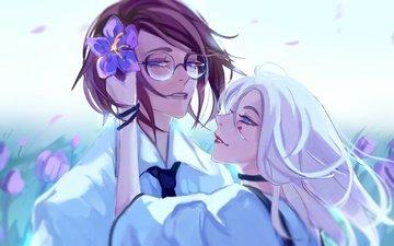 цветы, девушка, парень, очки, аниме, романтика, пара, голубые глаза, белые волосы, m0queur