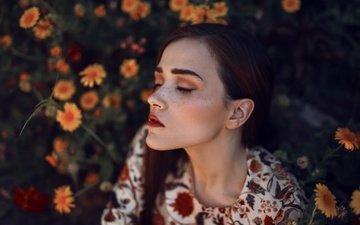 flowers, girl, portrait, model, freckles, closed eyes