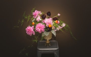 flowers, wallpaper, background, bouquet, vase, peonies