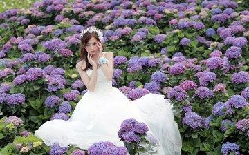 цветы, природа, девушка, модель, азиатка, невеста, свадебное платье, гортензии