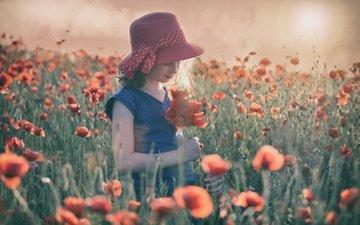 цветы, солнце, настроение, лето, маки, девочка, луг, шляпка, маковое поле
