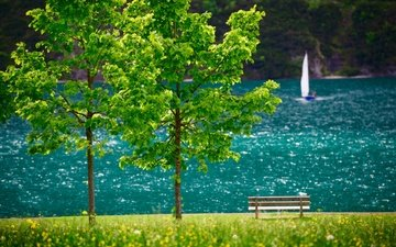flowers, trees, lake, landscape, austria, boat, bench, tyrol, sail