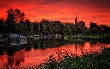 trees, river, england, glow, nottinghamshire