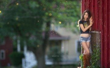 девушка, поза, взгляд, девочка, улица, ножки, волосы, лицо, джинсовые шорты