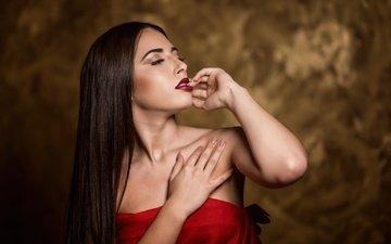 девушка, модель, профиль, волосы, макияж, в красном, paola martorell