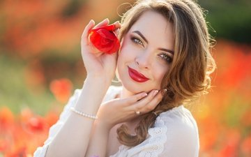 girl, mood, flower, smile, mac, face, hands, lipstick, bokeh